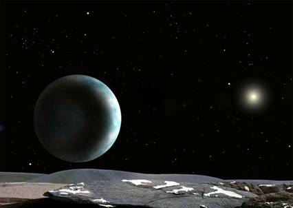Planets in space. I've just cleared the air lock and now, using the tether,
